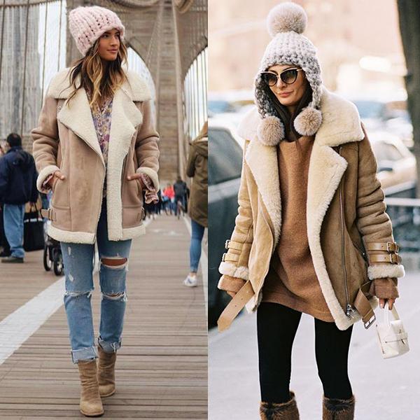 С чем носить модную дубленку?