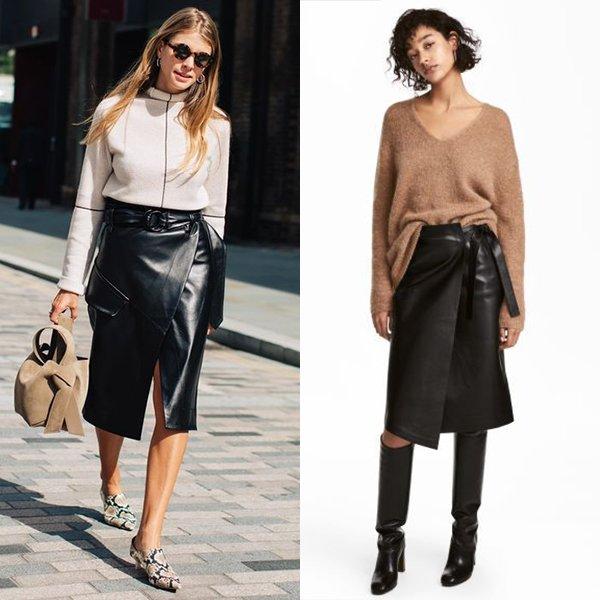 С чем носить кожаную юбку с запахом?