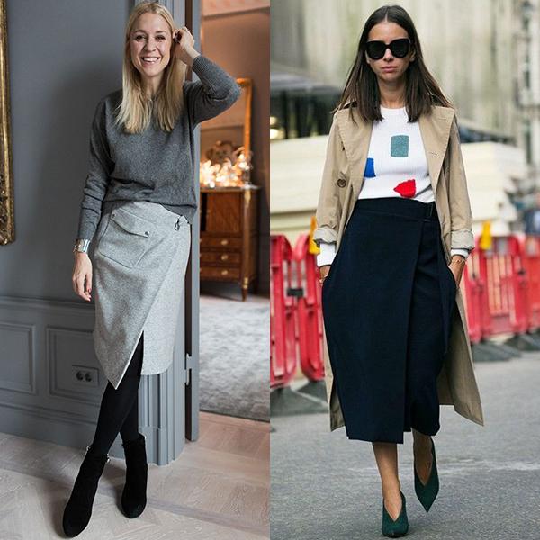 С чем носить юбку с запахом? Модные образы