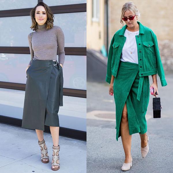 С чем носить юбки с запахом?