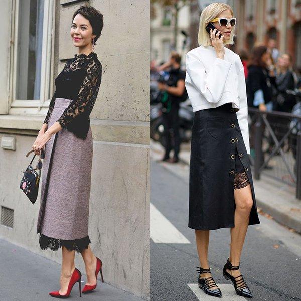 С чем надеть модную юбку с запахом?