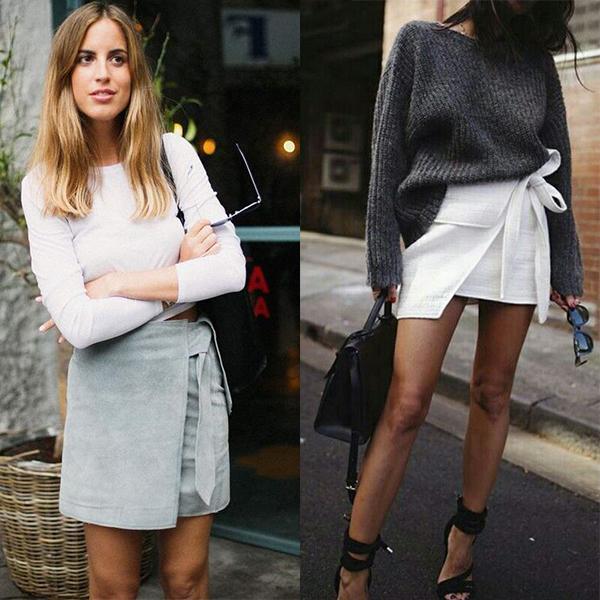 С чем носить короткие юбку с запахом?