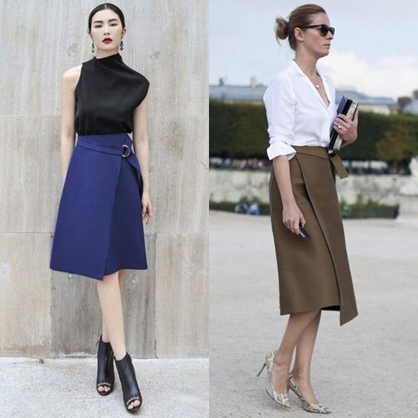 С чем носить юбку с запахом? Мода