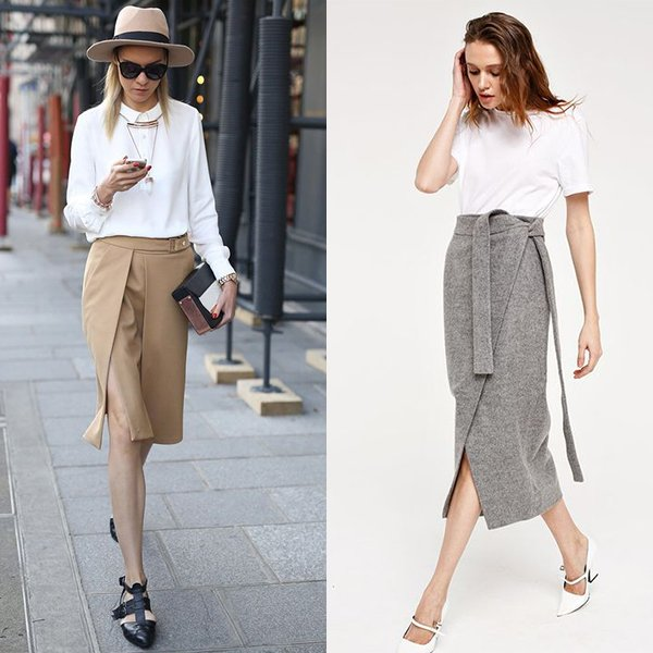 С чем носить юбку с запахом? Идеи модных образов