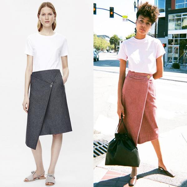 С чем носить юбку с запахом, примеры