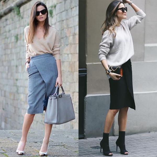 С чем носить классическую юбку с запахом?