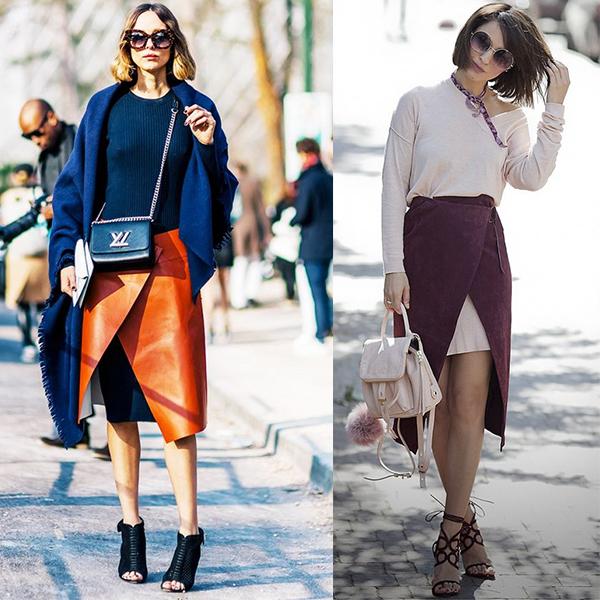 С чем носить юбку с запахом? Стильные образы на фото