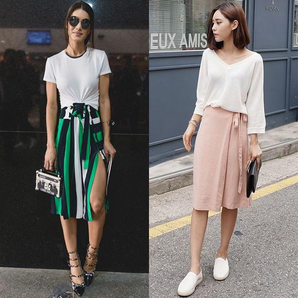 С чем носить юбку с запахом летом?