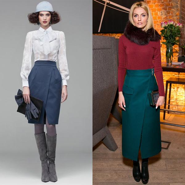С чем носить юбку с запахом? Интересные образы на фото