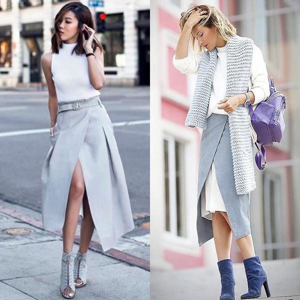 С чем носить юбку с запахом? Образы в разных стилях на фото