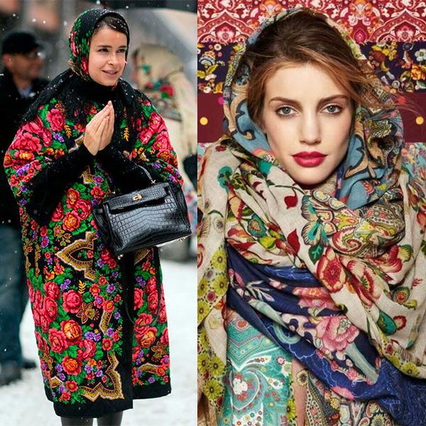 Платок на девушке, русский стиль