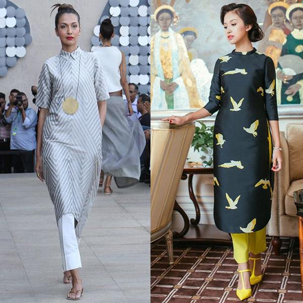 Платья с брюками, идеи образов на фото
