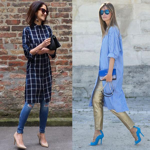 Платье рубашка с брюками или джинсами. Фото