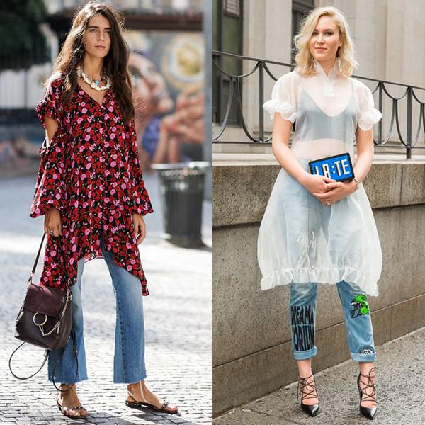 Какие фасоны платьев подходят к брюкам и джинсам?