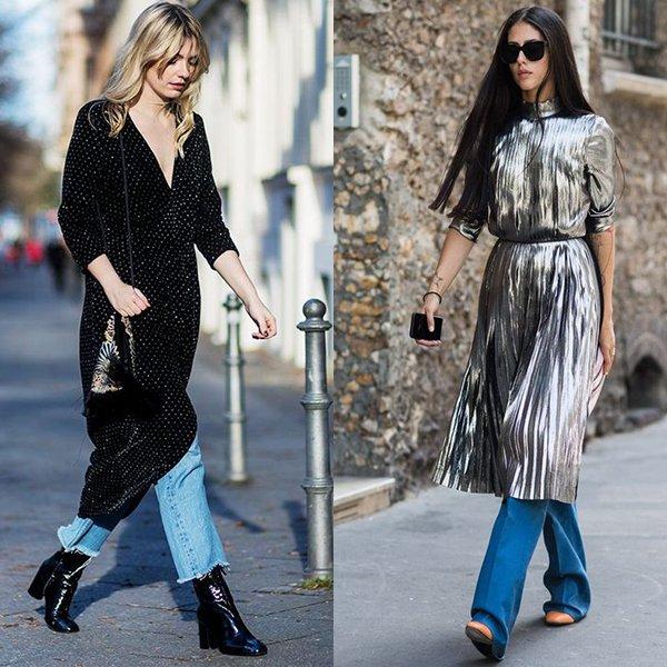Как носить платья с джинсами? Фото с примерами