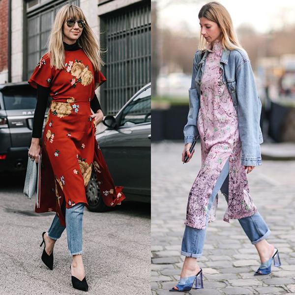 Какие фасоны платьев подходят к джинсам?