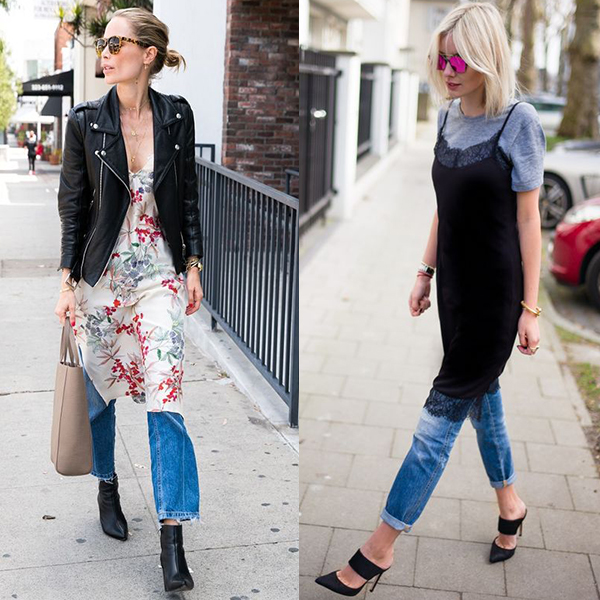 Как носить платье с джинсами? Фото