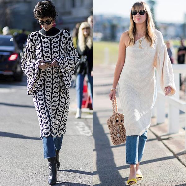 какие фасоны платьев подходят к джинсам и брюкам?