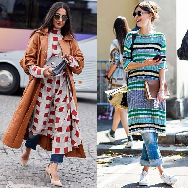 Платья с джинсами и брюками, идеи образов