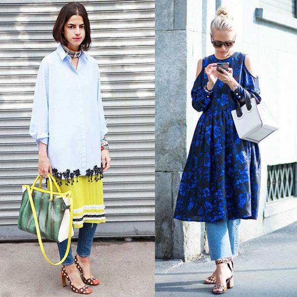 Как выбрать платье к джинсам?