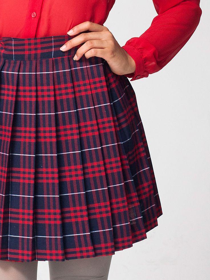 Как сшить юбку в складку на поясе в клетку 54