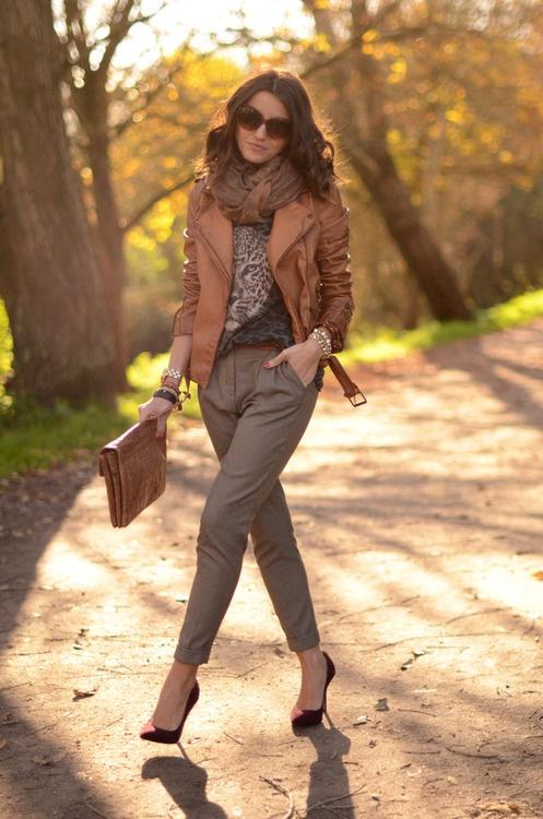 Куртки женские кожаные с чем носить