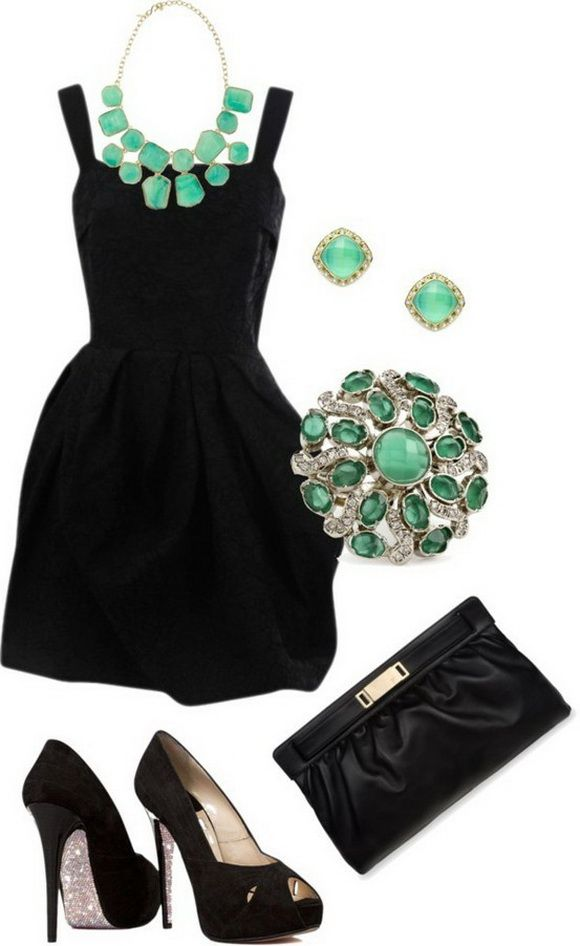 с чем носить черное платье 09