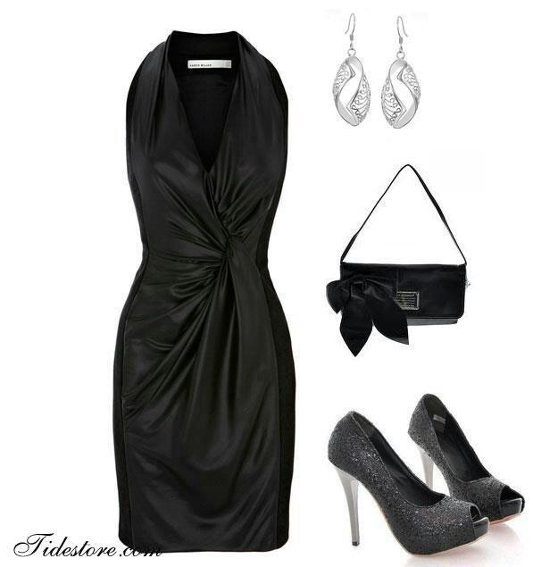 с чем носить черное платье 15
