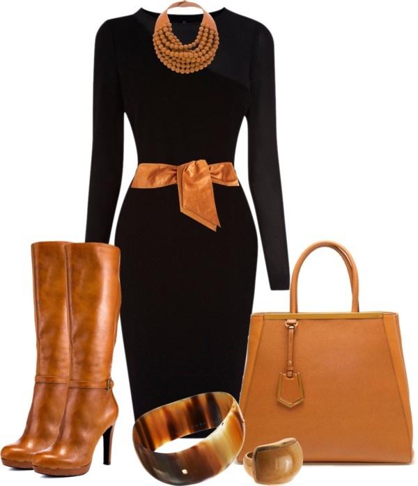 с чем носить черное платье 30