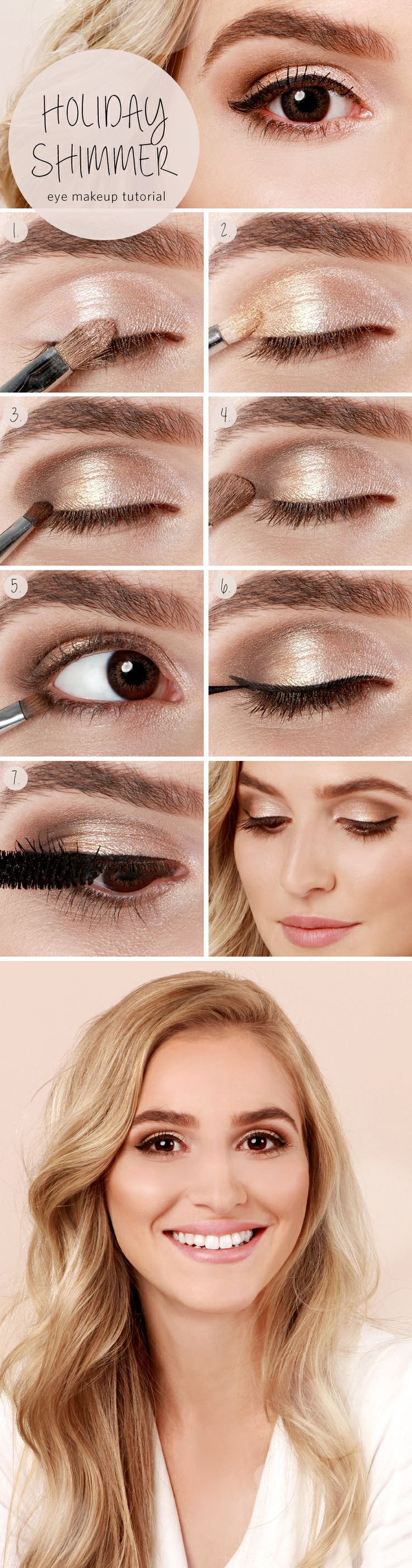 Пример макияжа для карих глаз фото