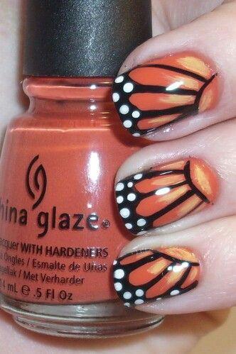 рисунок бабочка на ногтях  butterfly nail designs 03