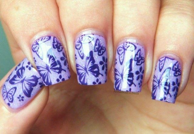 рисунок бабочка на ногтях  butterfly nail designs 04