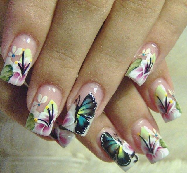 рисунок бабочка на ногтях  butterfly nail designs 05