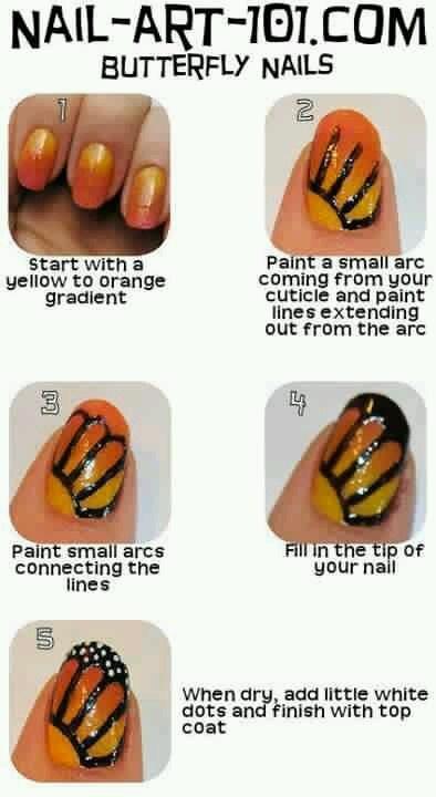 рисунок бабочка на ногтях  butterfly nail designs 09