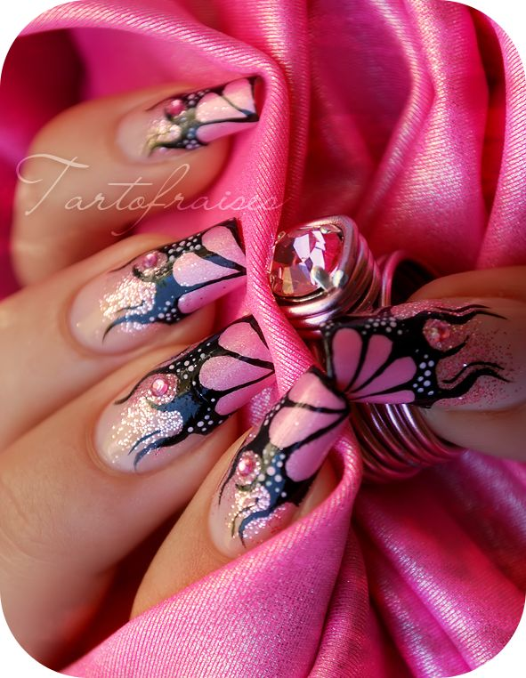 рисунок бабочка на ногтях  butterfly nail designs 11