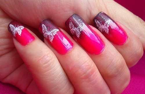 рисунок бабочка на ногтях  butterfly nail designs 14