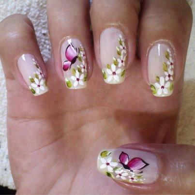 рисунок бабочка на ногтях  butterfly nail designs 20