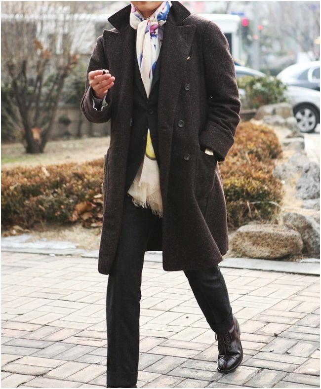 с чем носить мужское пальто 23
