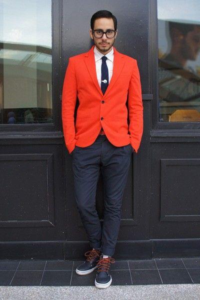 1 мужская мода стильные мужчины men in red 01