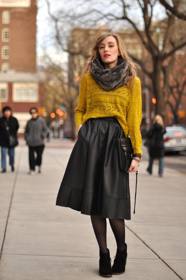 с чем носить кожаную юбку 12