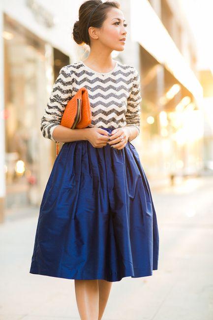 С чем носить юбку солнце до колена фото