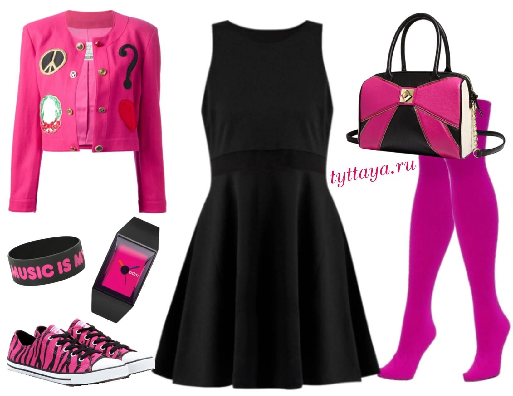какие колготки носить с черным платьем 03