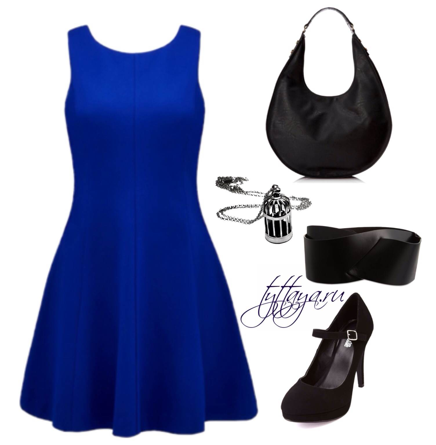 с чем носить синее платье 01