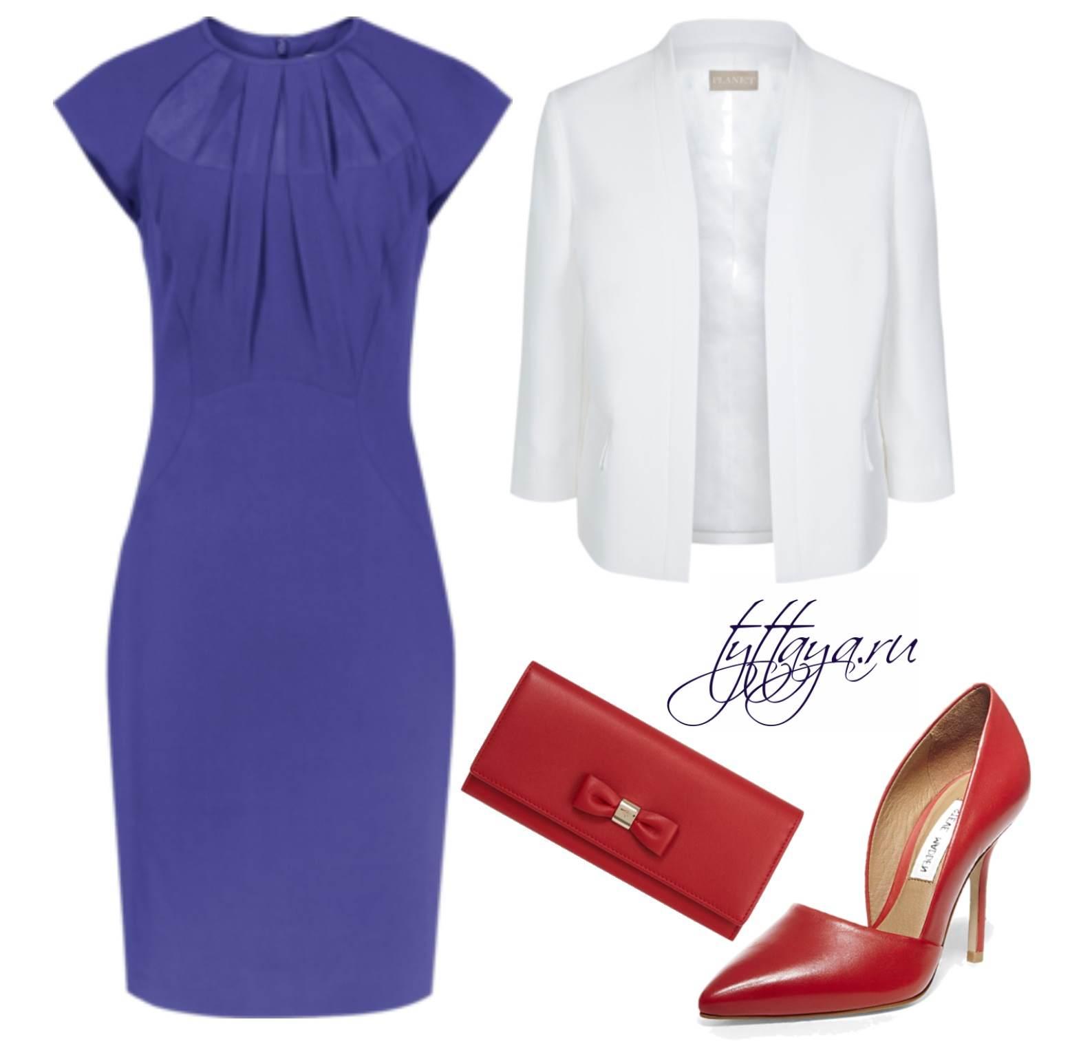 с чем носить синее платье 02