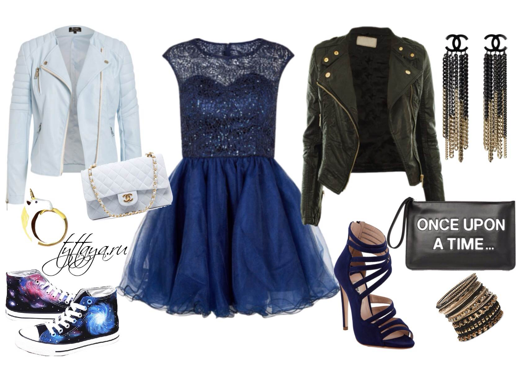 с чем носить синее платье 05