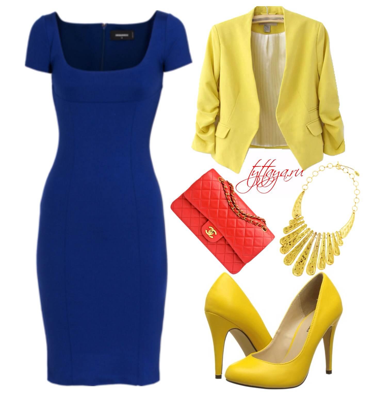с чем носить синее платье 06