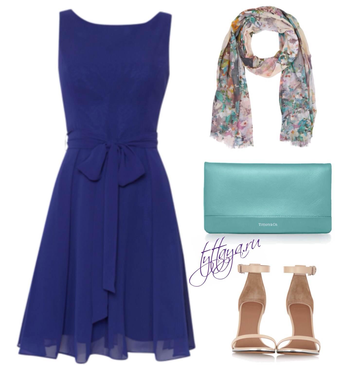 с чем носить синее платье 07