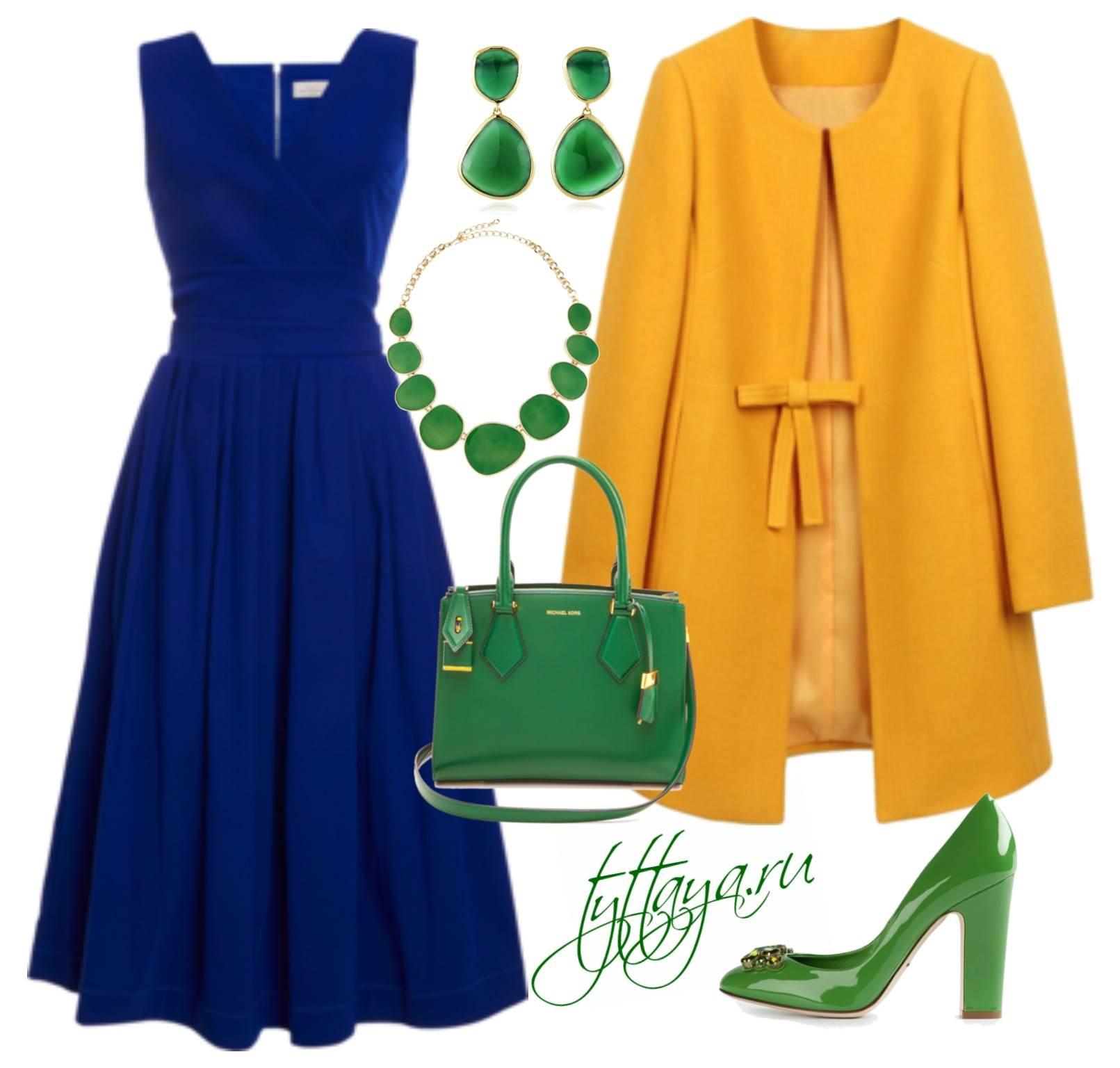 с чем носить синее платье 09