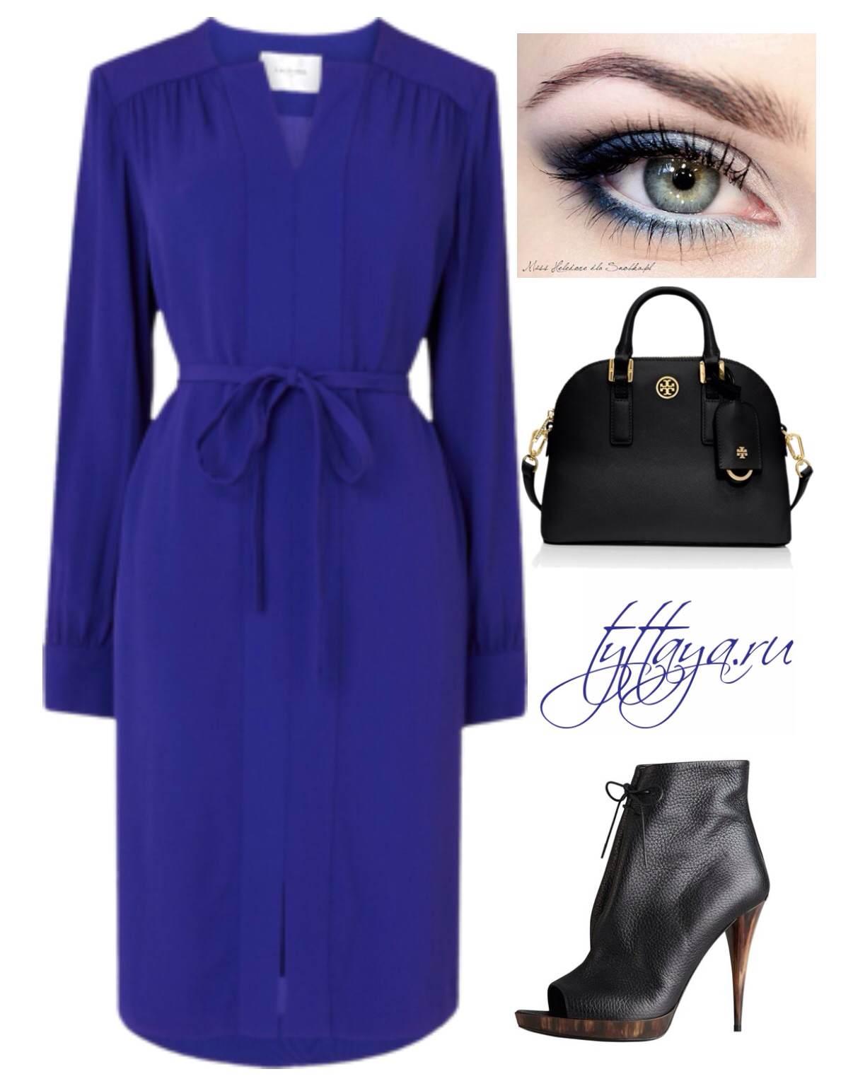 с чем носить синее платье 10