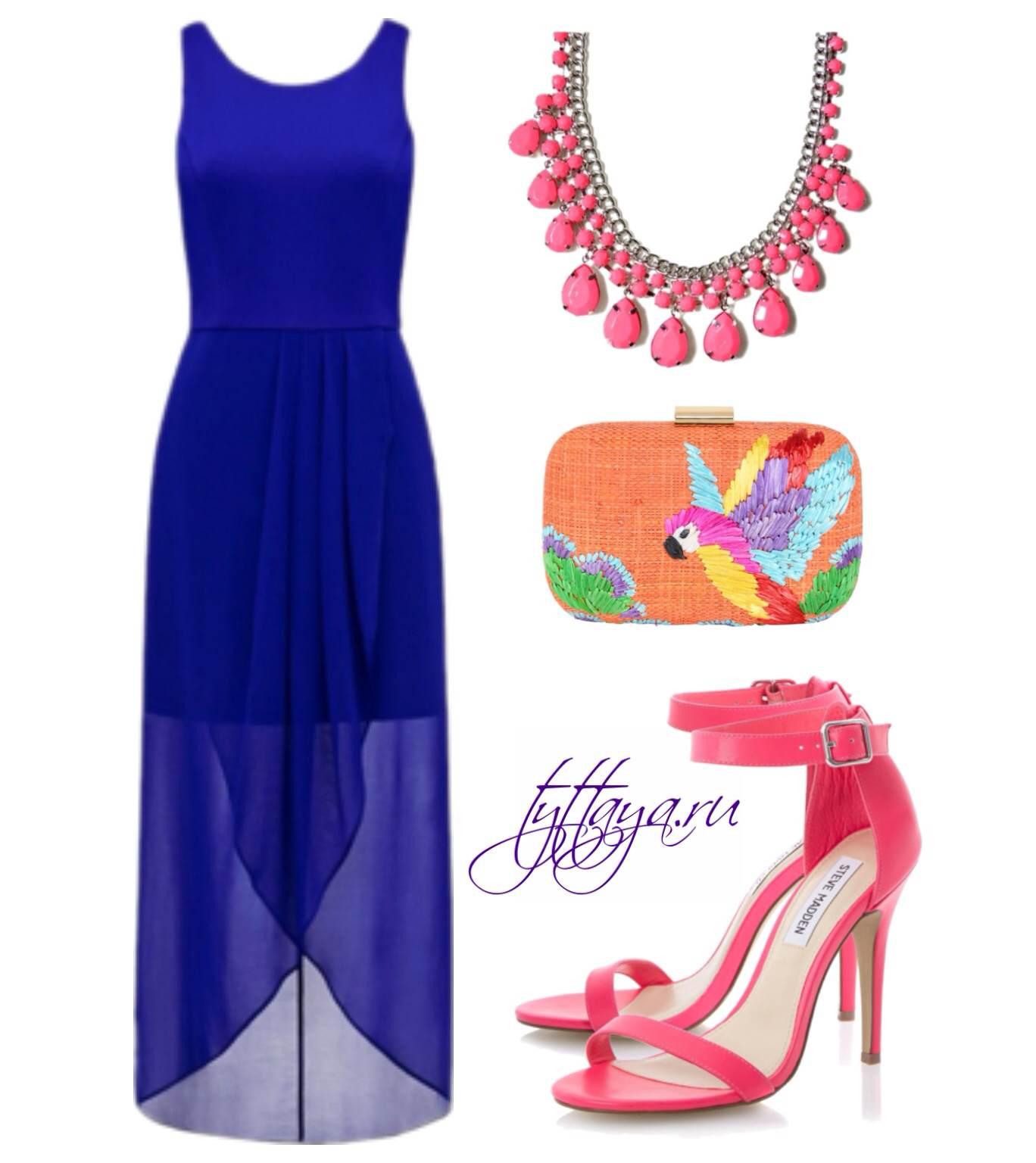 с чем носить синее платье 11